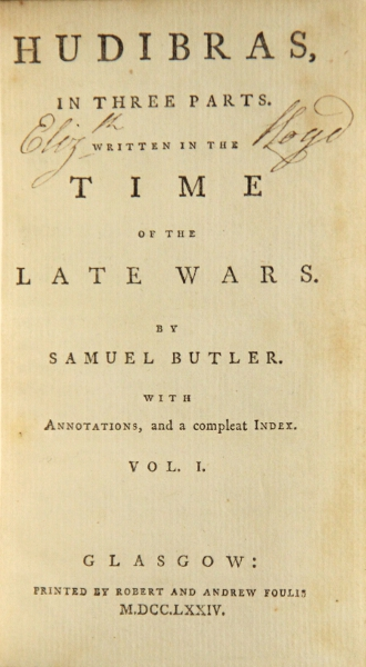 Hudibras In Three Parts Written The Time Of Late Wars