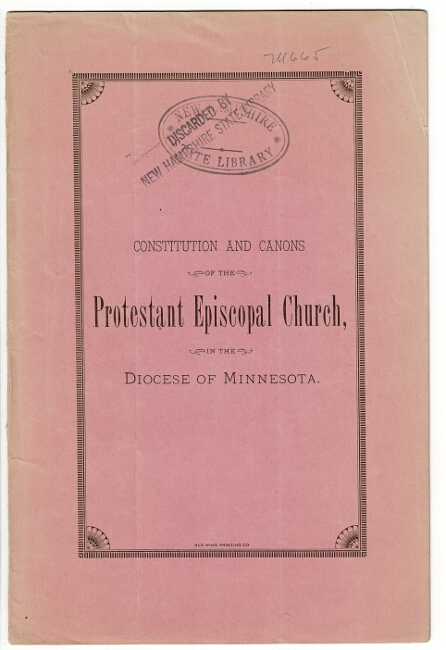 Constitution and canons of the Protestant Episcopal Church, in the Diocese of Minnesota. Printed by order of the Council.