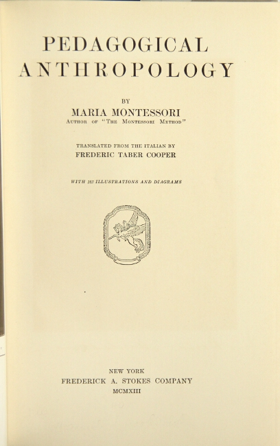 Pedagogical anthropology. Maria Montessori.