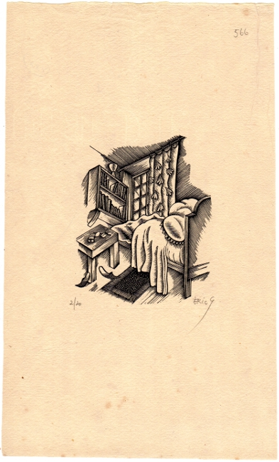 The empty bed. Eric Gill.