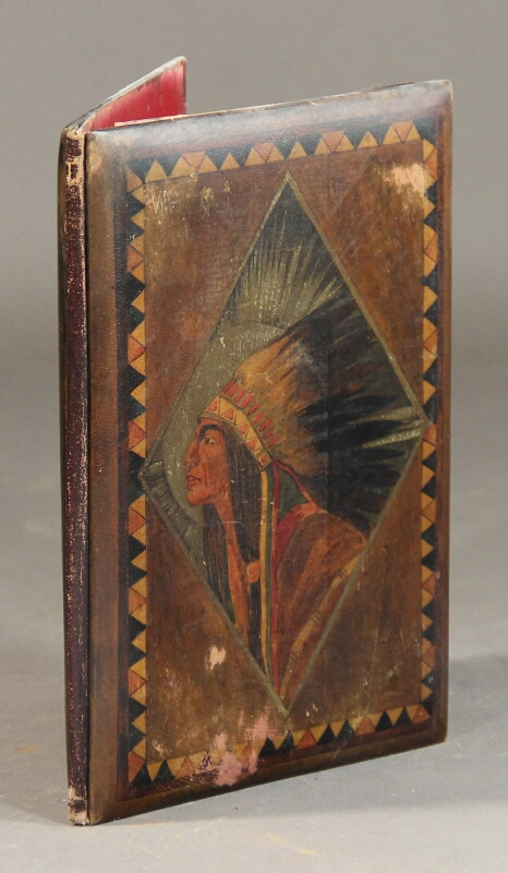 An empty binding consisting of painted wooden sides depicting within a parallelogram a Native American in full headdress.