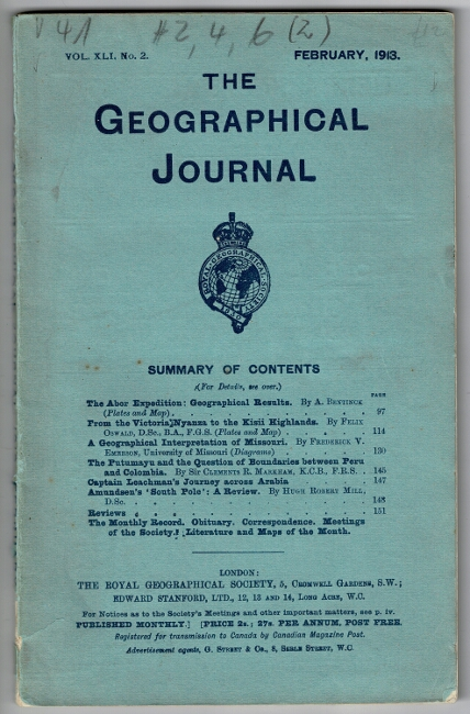 The Abor Expedition: geographical results. As contained in Vol. XLI, No. 2 of The Geographical Journal. A. Bentinck.