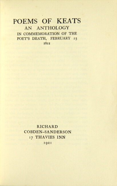 Poems of ... an anthology in commemoration of the poet's death, February 23 1821. JOHN KEATS.