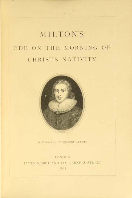 On the morning of Christ's nativity ... illustrated by eminent artists. JOHN MILTON.