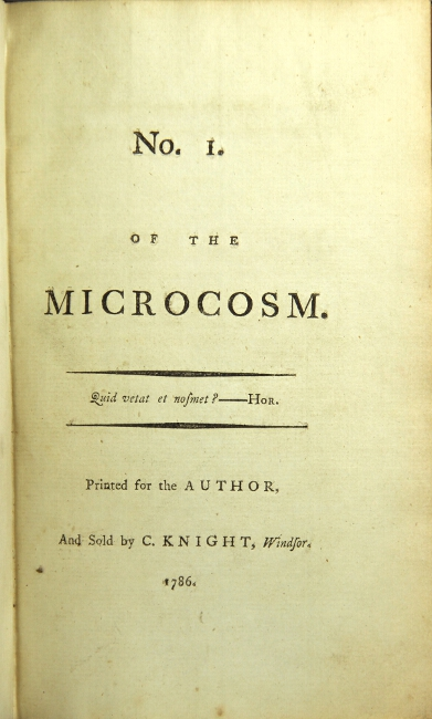 No. 1. [-40] of the Microcosm. George Canning, John Hookham Frere.