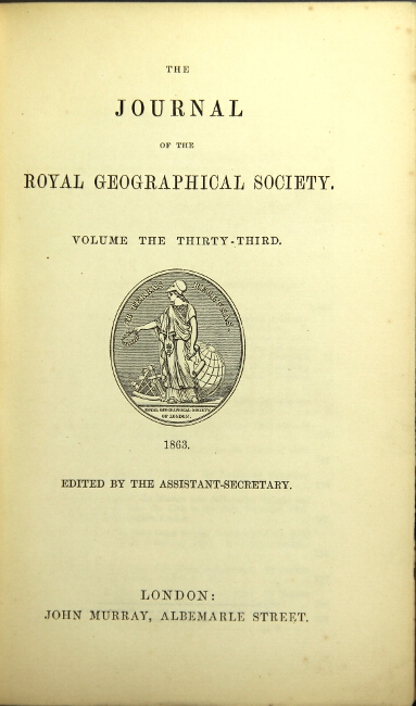 An account of an exploration of the Elephant Mountain, in Western Equatorial Africa, as contained in The Journal of the Royal Geographical Society, volume thirty-third. Richard F. Burton.