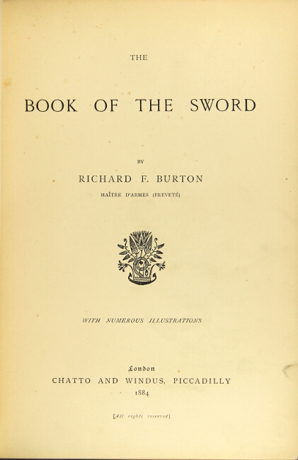 The book of the sword. Richard F. Burton.