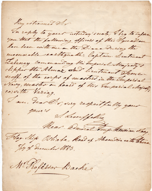 One page autograph letter signed to Prof. Alexander Dallas Bache. Lesosvsky, Stepan also Lesovskii.