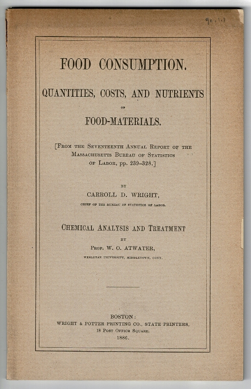 Food consumption. Quantities, costs, and nutrients of food-materials. CARROLL D. WRIGHT.
