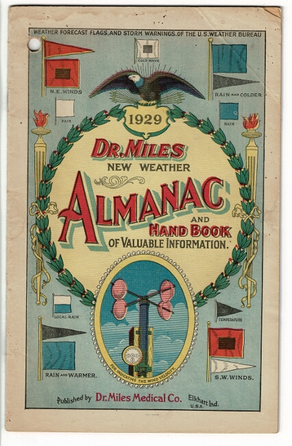Dr. Miles new weather almanac and hand book of valuable information 1929