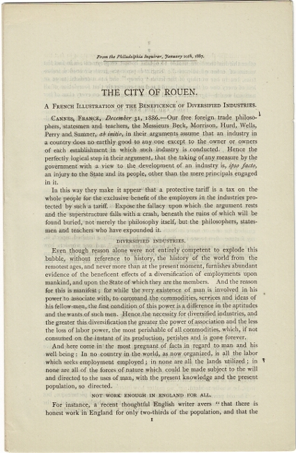 The City of Rouen. A French illustration of the beneficence of diversified industries. Henry Carey Baird.