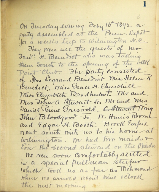 Manuscript journal recounting a voyage from Wilmington, NC to Cuba via Nassau, and back on the steam yacht Oneida