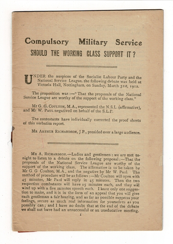 Compulsory military service: should the working class support it? [Heading title]