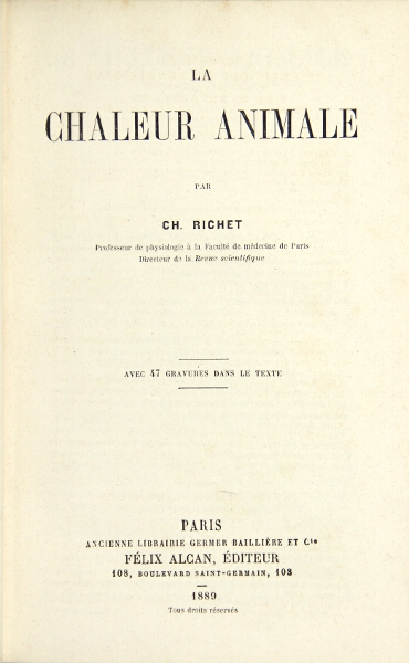 La chaleur animale. Charles Richet.