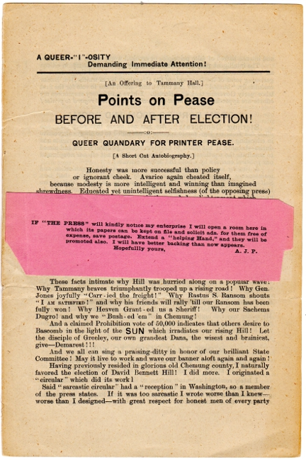 Points on Pease before and after election! Queer quandary for printer Pease. A. J. Pease.