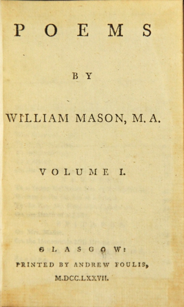 Poems. William Mason.