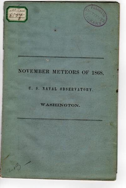 November meteors of 1868, U S  Naval observatory, Washington cover title by  J  R  Eastman on Rulon-Miller Books