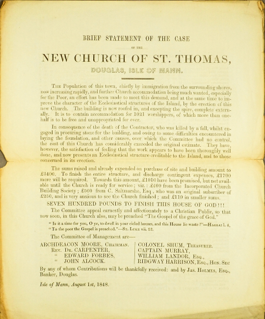 Brief statement of the case of the New Church of St. Thomas, Douglas, Isle of Mann. Archdeacon Moore.
