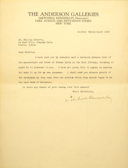 Three typed letters signed to the collector, William Roberts, in London. Mitchell Kennerley.