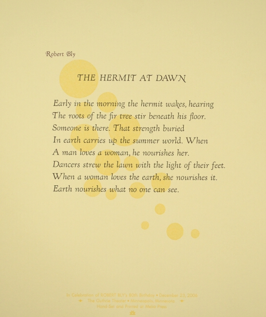 The hermit at dawn. Robert Bly.