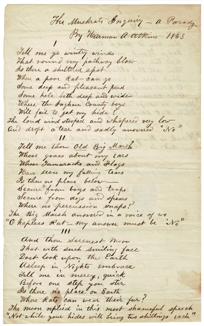 "Two-page manuscript poem ""The Muskrats Inquiry - a Parody"" Harman A. Atkins."