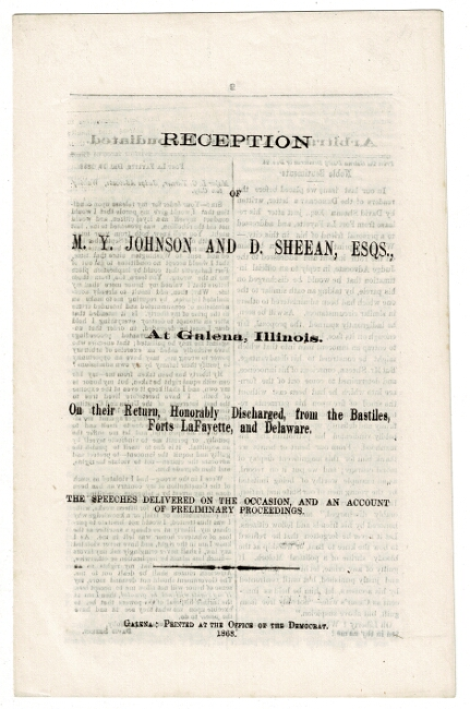 Reception of M. Y. Johnson and D. Sheean, Esqs., at Galena, Illinois. On their return, honorably discharged, from the bastiles, Forts Lafayette and Delaware...and an account of preliminary proceedings. Madison Y. Johnson, David Sheean.