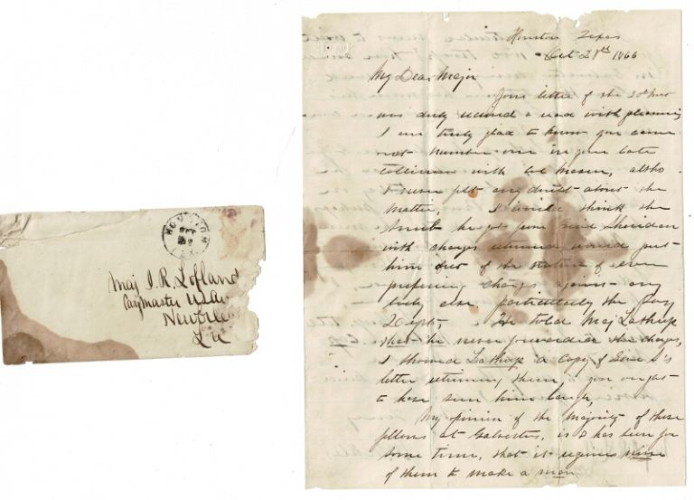 3-page autograph letter signed, from J. W. Eckles of Houston, Texas to Major J. R. Lofland concerning a suit against him and the troops at Galveston. Eckles, ohn, esley.