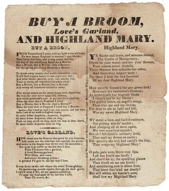 Buy a Broom, Love's Garland, and Highland Mary