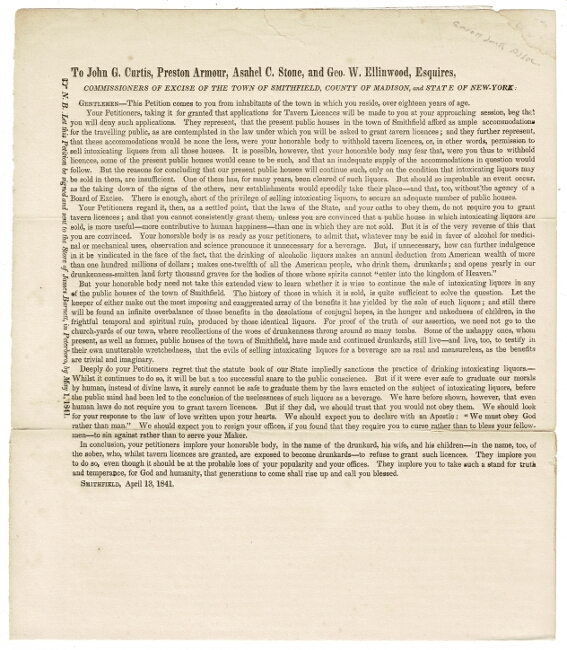 To John G. Curtis, Preston Armour, Asahel C. Stone, and Geo. W. Ellinwood, Esquires, commissioners of excise of the town of Smithfield, County of Madison, and State of New York