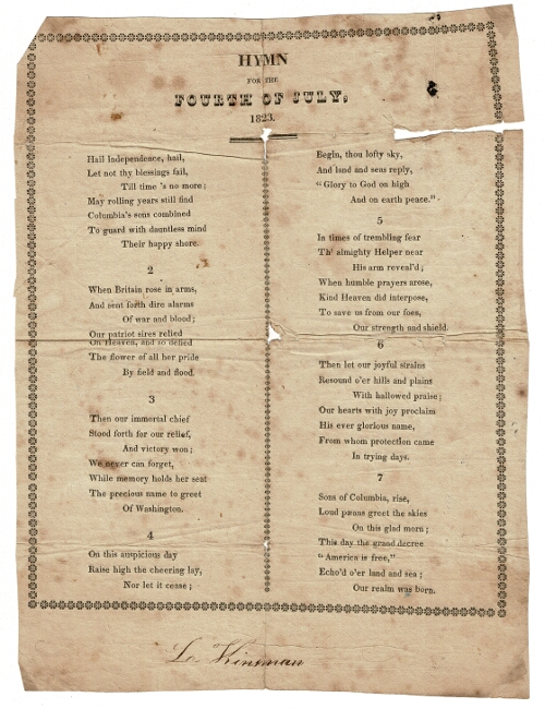 Hymn for the Fourth of July 1823