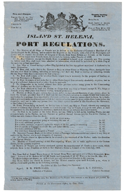 Island St. Helena, port regulations. R. M. Pritchard, Collector of Customs, Colonial Secretary R. C. Pennell.