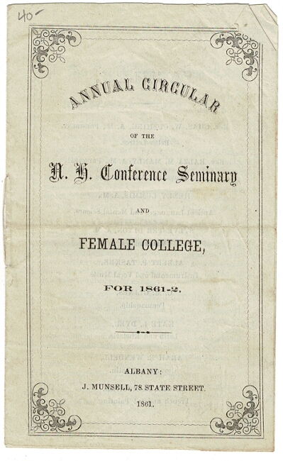 Annual circular of the N. H. Conference Seminary and Female College for 1861-2 [cover title]