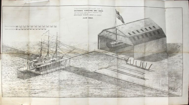 A brief sketch of the plan and advantages of a sectional floating dry dock, combined with a permanent stone basin and platform, and connected with level bedways, sliding ways, and housed slips for repairing, launching, and laying up in ordinary the ships of the United States Navy. Burgess Dodge, Moody, Dakin.