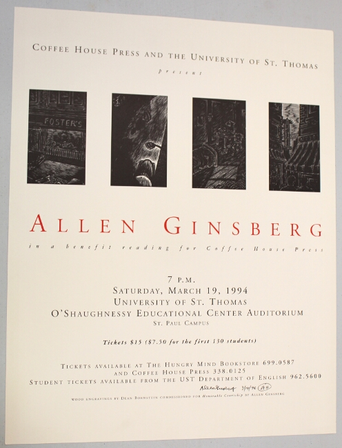 Coffee House Press and the University of Saint Thomas present Allen Ginsberg. Allen Ginsberg.