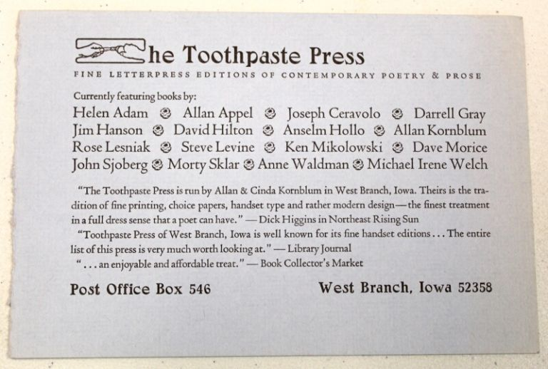 Toothpaste Press title announcement