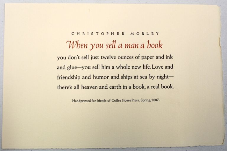 When You Sell A Man A Book. Christopher Morley.