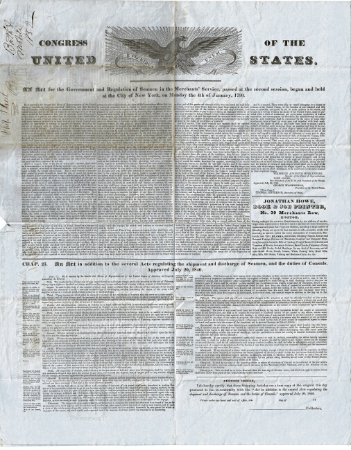 An act for the government and regulation of seamen in the Merchants' Service ... [drop title]. [With:] Chap. 23. An act in addition to the several acts regulating the shipment and discharge of seamen, and the duties of consuls. Approved July 20, 1840. Congress of the United States.