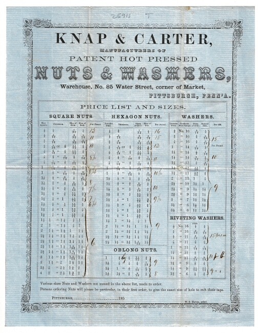 Knap & Carter, manufacturers of patent hot pressed nuts & washers, Warehouse No. 85 Water Street, corner of Market, Pittsburgh, Penn'a. Knap, Carter.