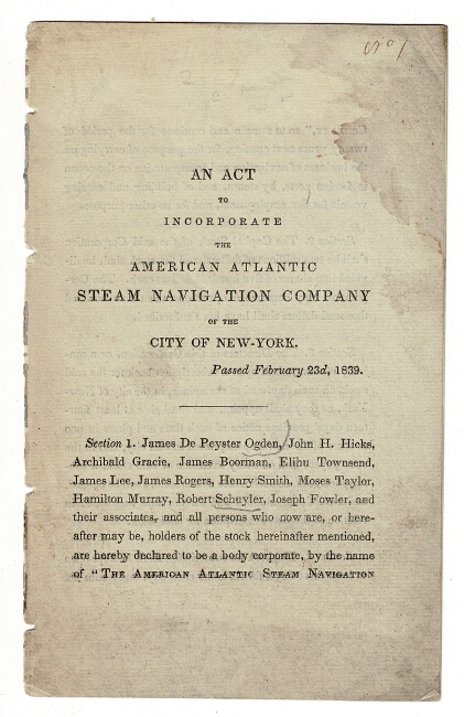 An act to incorporate the American Atlantic Steam Navigation Company of the city of New-York [drop-title]