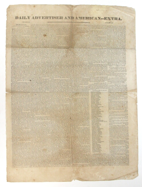 Daily Advertiser and American - Extra ... Memorial to the General Assembly, from the Antimasonic State Convention, Read January 12. And referred to a select committee