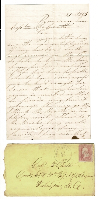 Three-page autograph letter from Priscilla B. Sturges to Capt. McGrath, concerning the death of her husband