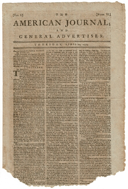 The American Journal; and General Advertiser. Thursday, April 22, 1779. Vol. 1, no. 6