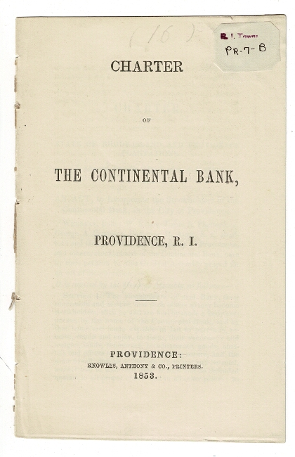 Charter of the Continental Bank, Providence, R. I.