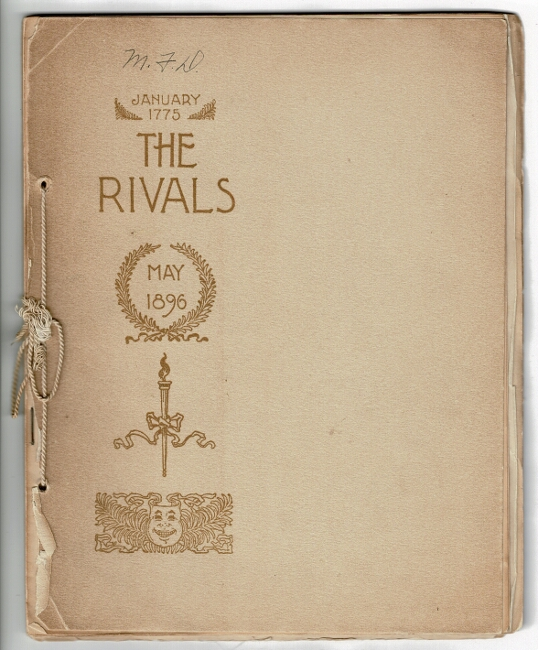 [Theatre program for:] The Rivals. A comedy in three acts ... under the direction of C. B. Jefferson and Joseph Brooks. Brander Matthews.