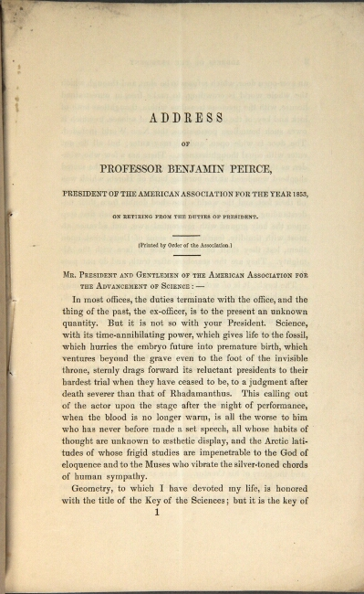 Address of Professor Benjamin Peirce president of the American Association for the Year 1853, on retiring from the duties of president. Benjamin Peirce.