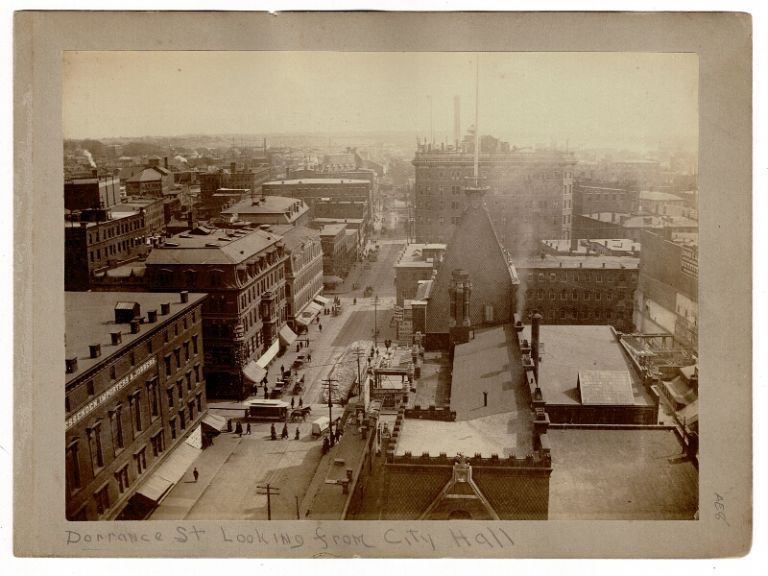 """Albumen print of downtown Providence: """"Dorrance St. looking from City Hall."""""""