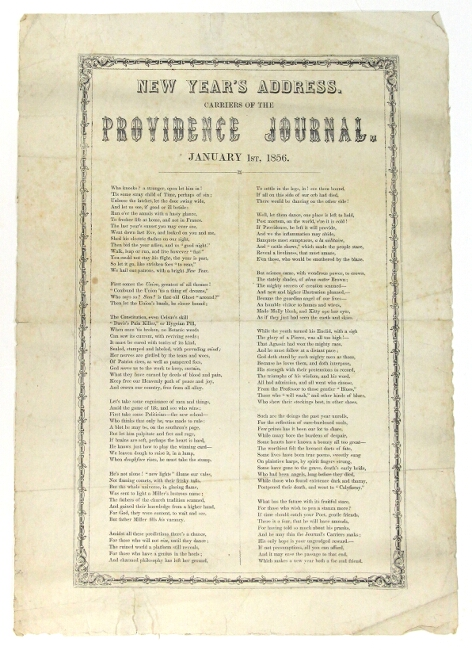 New Year's address. Carriers of the Providence Journal. January 1st, 1856