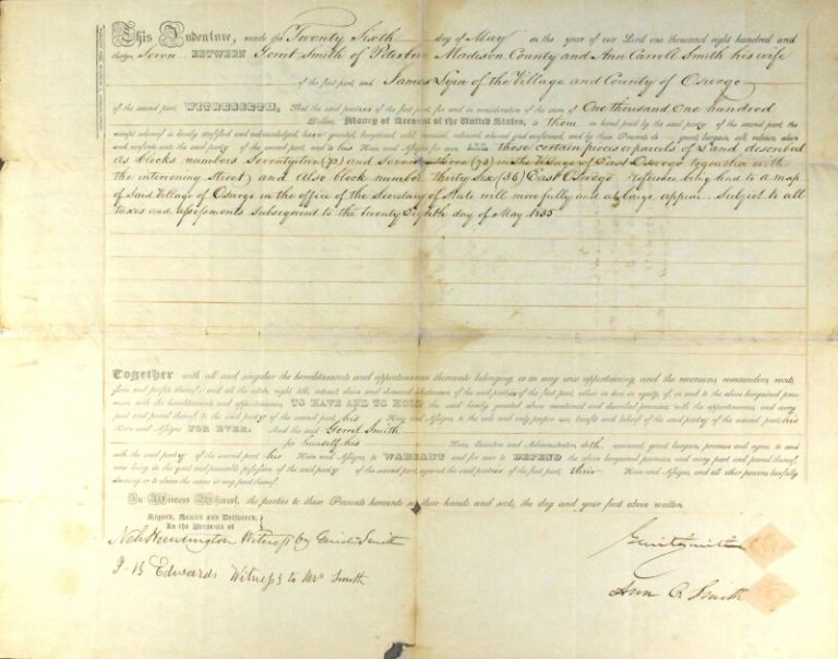 Warranty deed for a parcel of land, between Gerrit Smith of Peterboro, Madison County and his wife, Ann Carroll Smith; and James Lyon of the village and county of Oswego. Gerrit Smith, Ann Smith.