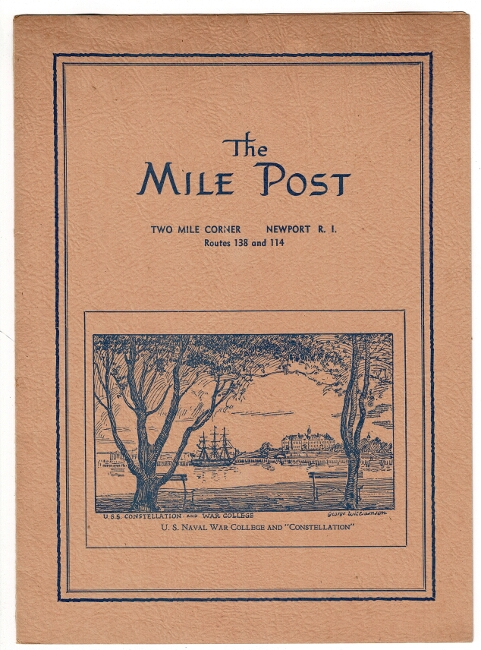 The Mile Post. Two Mile Corner, Newport, R.I. Routes 138 and 114