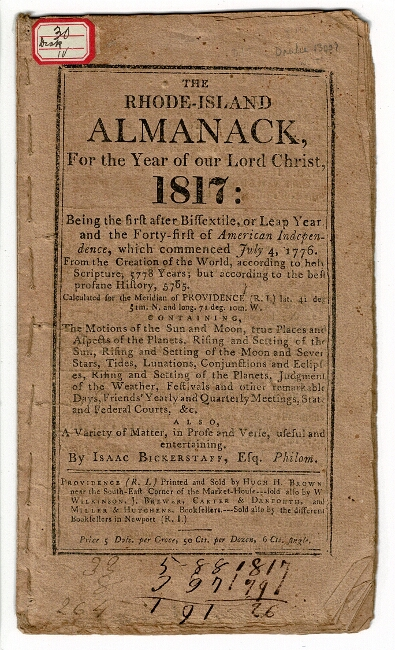 The Rhode-Island almanack for the year of our Lord Christ, 1817. Isaac Bickerstaff.